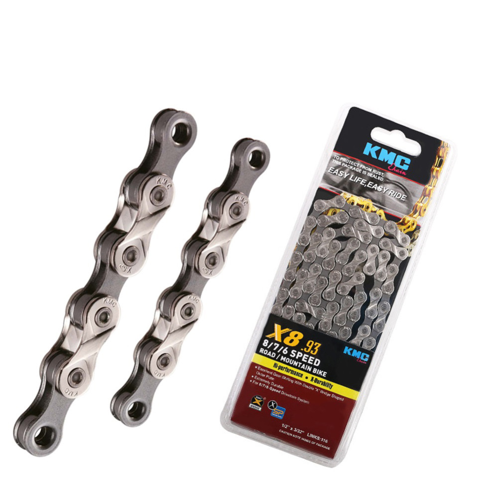 Original KMC X8.93-NPGY 8 Speed KMC Chain for Trekking 116 Links Half Nickel Plated Extremely Durable KMC 8S Road Bike Chain