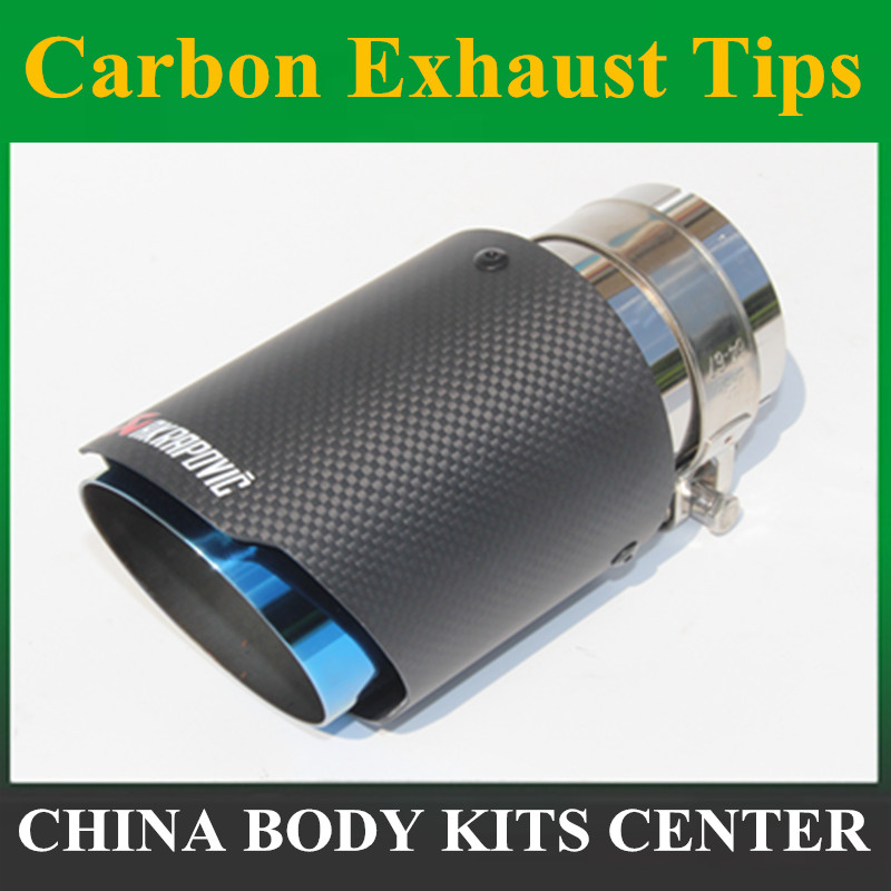 Inlet 51mm 54mm <font><b>57mm</b></font> 60mm 63mm Outlet 89mm 101mm Akrapovic Carbon Fiber <font><b>Exhaust</b></font> <font><b>Tip</b></font> Muffler End Pipe Car <font><b>Exhaust</b></font> <font><b>Tips</b></font> Blue Burnt image