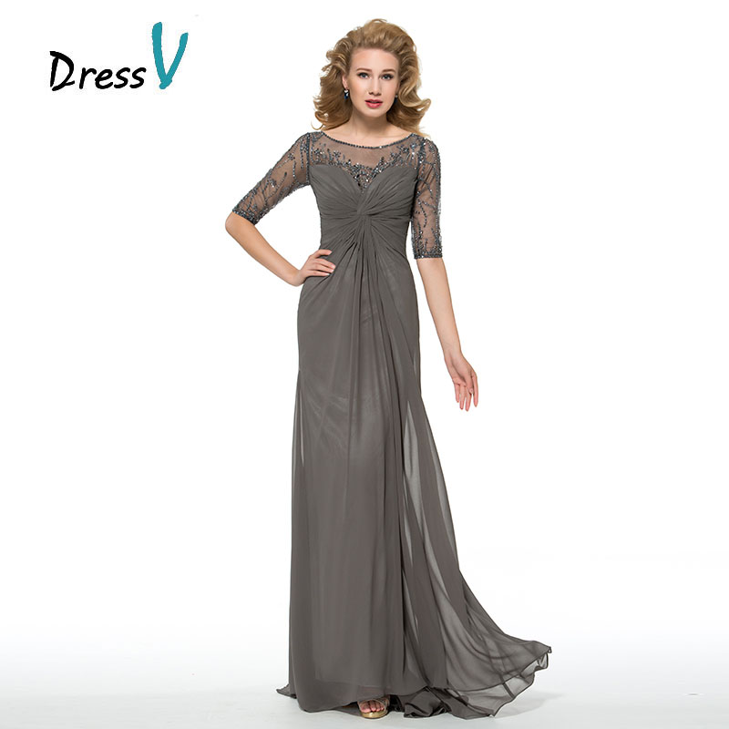Dressv Half Sleeves Grey Mother Of The Bride Dresses Customized Beaded Ruched Composite Silk Chiffon Mother Long Evening Gown