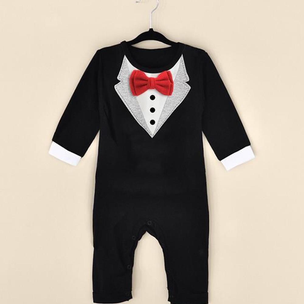 2015 New Newborn Boy Leisure Suit Cloth Infant Gentleman Jumpsuit Baby Children   Rompers   Fashion Design Jumpsuits CL0746