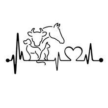 20*10.6CM Dog Cat Horse Cow Heartbeat Lifeline Monitor Creative Funny Animal Car Sticker Black/Silver C6-1134(China)