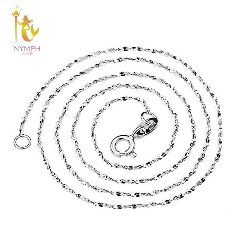 NYMPH Genuine 18K White Gold Necklace Fine Jewelry au750 Jewelry O Shape Wedding Party Gift For