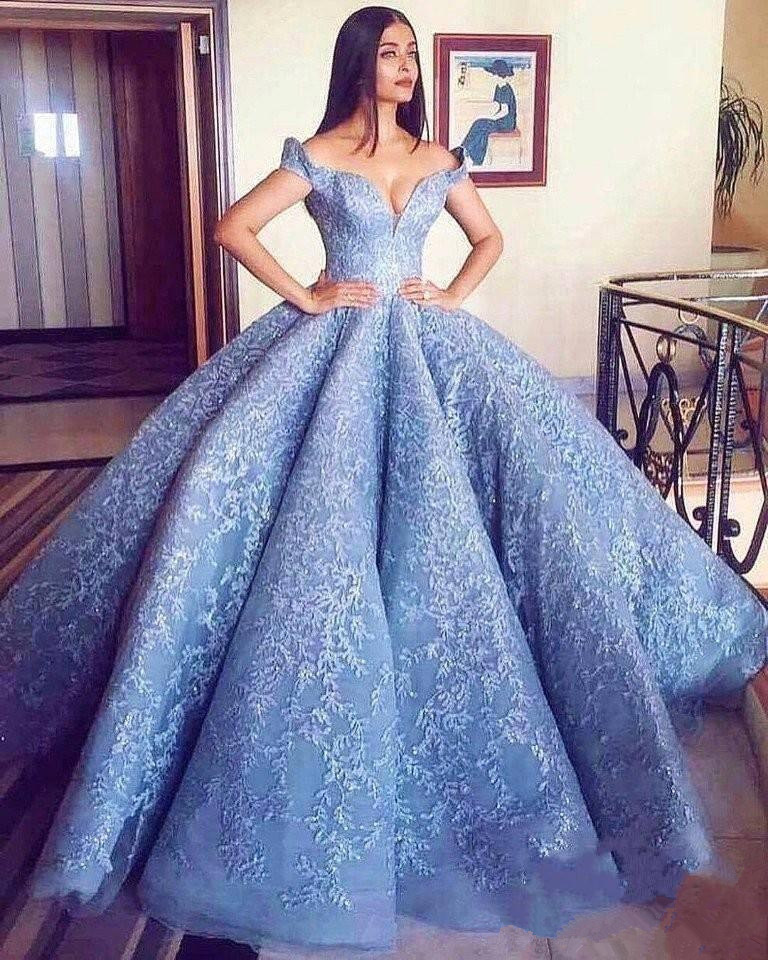 Blue Robe De Soiree 2019 Ball Gown Off The Shoulder Appliques Lace Elegant Long   Prom     Dresses     Prom   Gown Evening   Dresses
