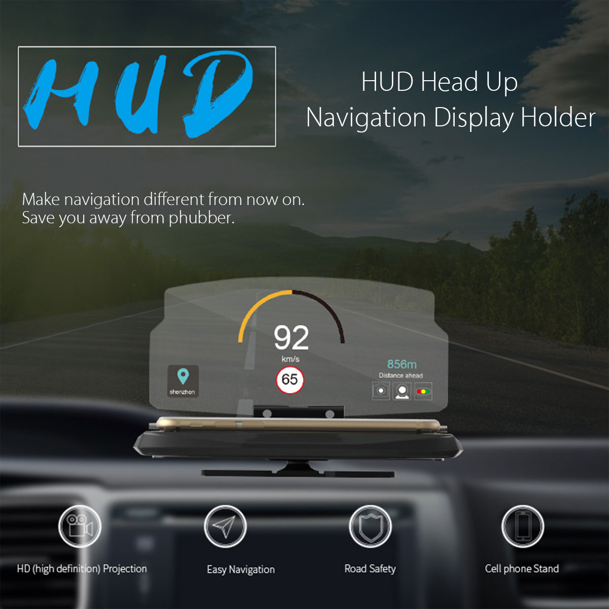 Universal Mobile Phone Car Holder Windscreen Projector HUD Head Up Display 6.5 Inch For iPhone/Samsung GPS new arrival smart cell phone holder mount head up display car hud phone gps navigation wireless charger stand for iphone 8 plus