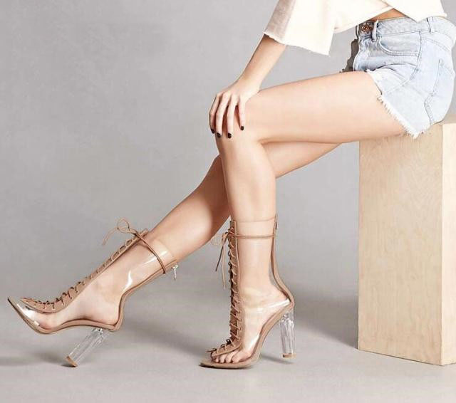 2017 New Arrival Peep Toe PVC Transparent Heel Booties Mujer Cut-outs Lace Up Ankle Boots Spring Autumn Party Dress Shoes Women front lace up casual ankle boots autumn vintage brown new booties flat genuine leather suede shoes round toe fall female fashion