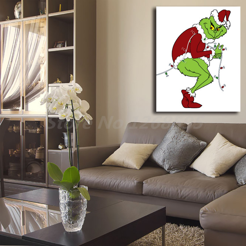 Grinch Stealing Christmas Lights Template.Us 5 7 5 Off Grinch Stealing Christmas Lights Template Wallpaper Canvas Posters Prints Wall Art Painting Decorative Picture Modern Home Decor In