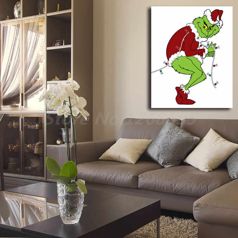 Grinch Stealing Christmas Lights Template Wallpaper Canvas Posters Prints  Wall Art Painting Decorative Picture Modern Home Decor