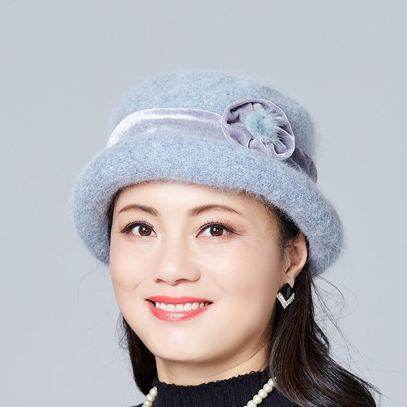 New Women Winter Hats Scarves bonnet femme Warm Hat Scarf Set Floral Skullies Wool Mixed Rabbit Fur Knitted Beanies Cap in Women 39 s Skullies amp Beanies from Apparel Accessories