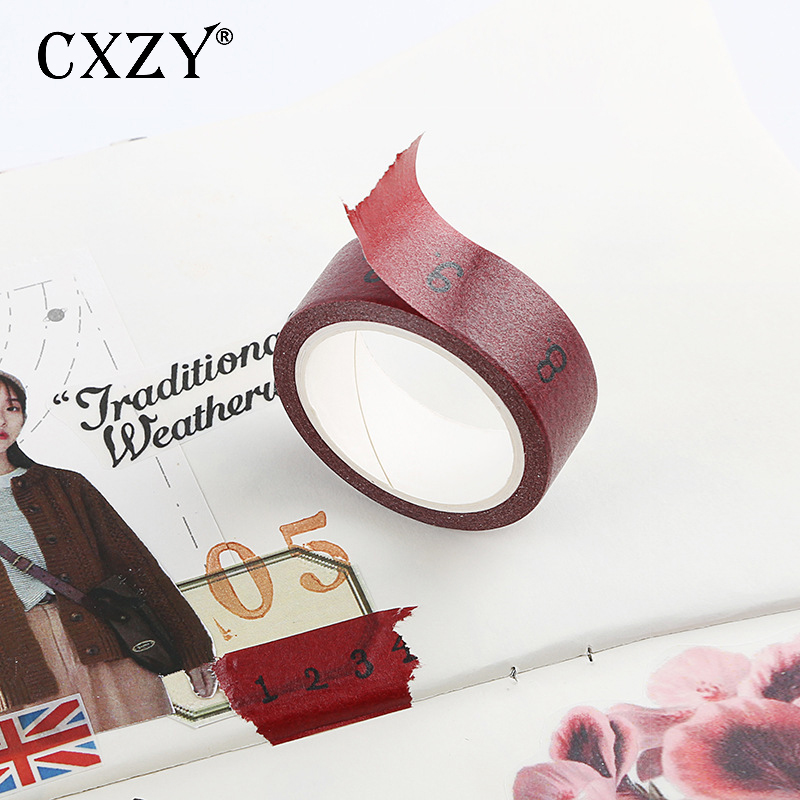 CXZY 1PCS Vintage Red Number Washi Tape Masking Craft Bullet Journal Painting Decorative School Office Stationery Items 1J808