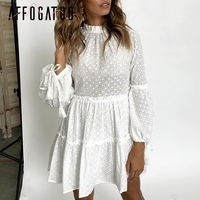 Affogatoo O neck short cotton white dress women Hollow out ruffle lace dress winter 2018 Lantern sleeve embroidery elegant dress