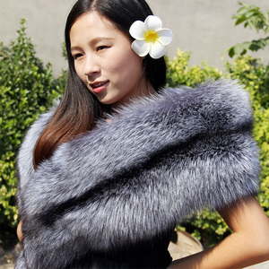 Image 3 - Natural Real Fur Scarf Shawl Women 120cm Winter Men Double sided Genuine Silver Fox Scarves Couples Luxury Grey Fox Collar