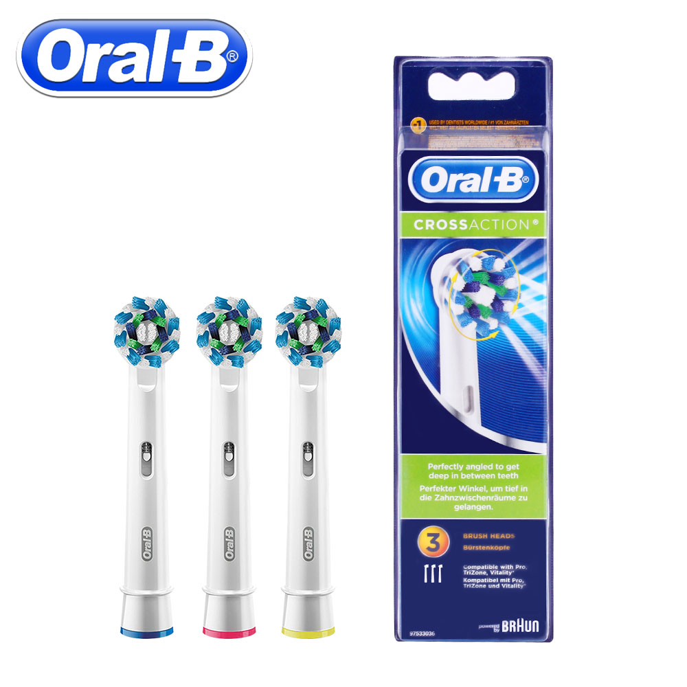 3pc/Pack Oral B Cross Action Replacement Sonic Electric Toothbrush Heads Rotation Braun Toothbrush Heads Oral Hygiene Brush Head 1pack eb 25a model replacement electric toothbrush head eb25 cleaning tool fit for braun oral b tooth brush heads