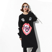 2018 New Fashion Autumn Winter Dress Vintage Painting Style Thicken Warm Woolen Casual Dress Loose Women