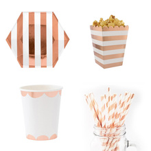 Rose Gold Striped Dot Disposable Tableware Set Cup Plate Napkin Paper Straws Popcorn Box Gift for Wedding Party Decoration