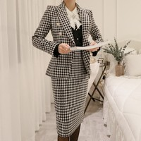 New Formal Office Ladies Suits Bodycon Wrap Skirt Blazer Outfits Business Woman Slim Fit Jacket Set Plaid High Waist Skirt Suit