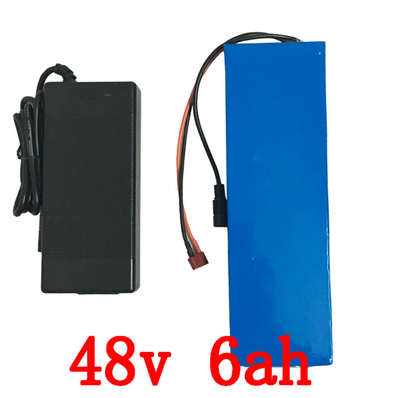 Ebike Battery 48v 6Ah 300W Lithium Battery 48v with 54.6v 2A charger 15A BMS Electric Scooter Bike Battery 48v Free Shipping termica ah 6 300 tc