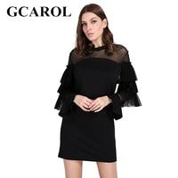 GCAROL 2018 Korean Gauze Spliced Multi Layer Women Dress Flare Sleeve Black Fashion Spring Autumn Vintage