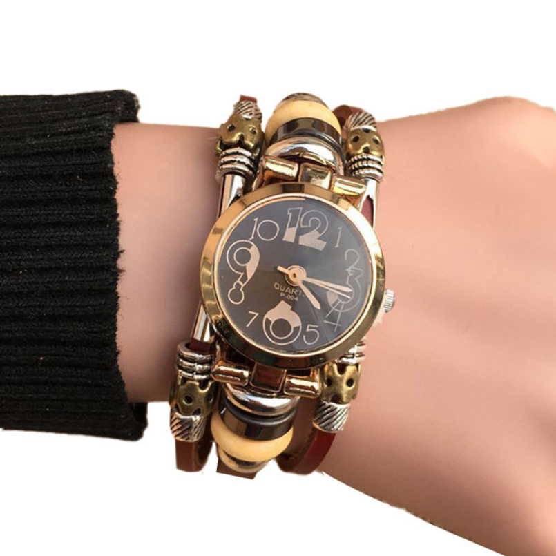 Excellent Quality Fashion Leather Casual Bracelet Watch Wristwatch Women Dress Watches Long Leather Bracelet Watch for Gift