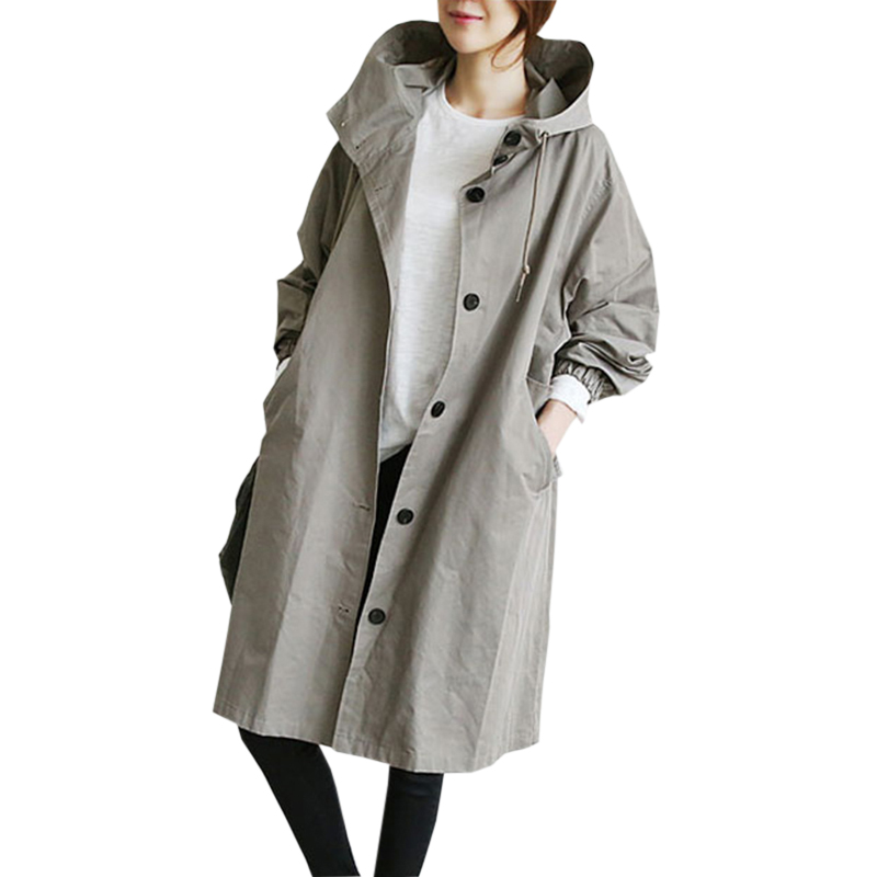 Winter Loose Women   Trench   Long Hooded Single Breasted Coats New Spring Casual Plus Size Outwear Coat Female Gray   Trench   RE0320
