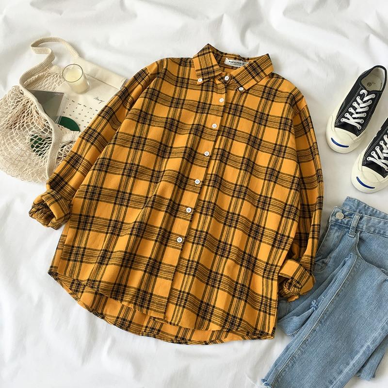 7fd837196 KYQIAO mujer camisa amarilla a cuadros ropa de manga larga ropa exterior  superior mori niñas otoño primavera estilo japonés Blusa con entramado