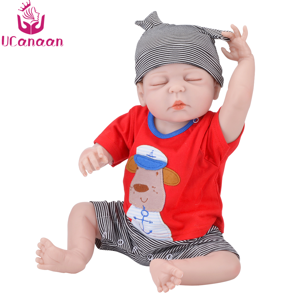 UCanaan 22'' Reborn Doll 55CM Sleeping Baby Alive Dolls For Girls Babies New Born Realistic Kids Toys For Children Play Bonecas ucanaan 1 3 bjd doll reborn girls dolls 19 jointed body chinese style maxi long dress wig makeup dressup diy sd kids toys