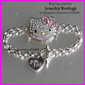 20pcs Pretty Rhinestone Hello Kitty Chain Bracelet Charm Bracelet for Kid