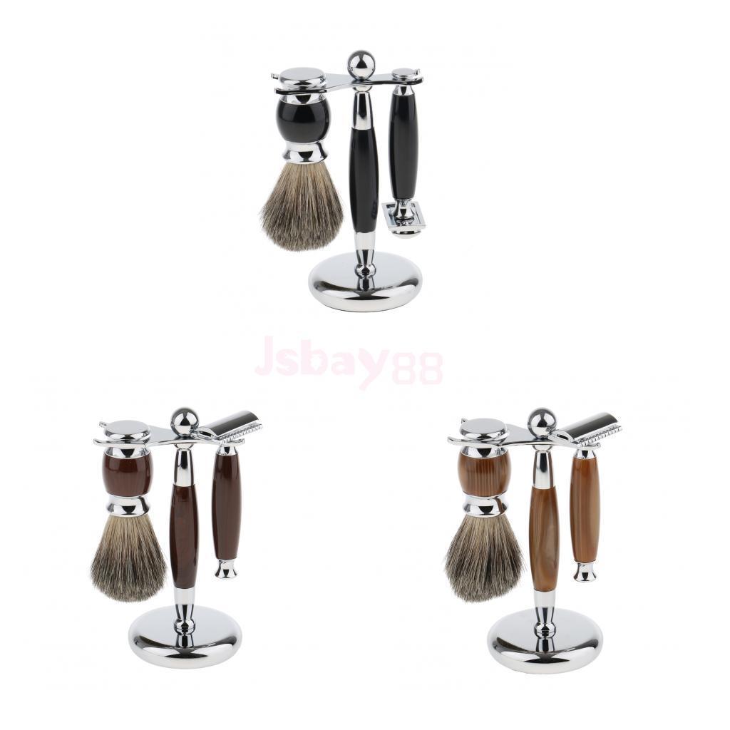 Set 3pcs Barber Mens Beard Shaving Brush Grooming Brush + Drying <font><b>Storage</b></font> <font><b>Holder</b></font> Stand + <font><b>Manual</b></font> Double Edge Safety Shaver Kit