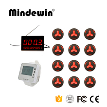 Mindewin Wireless Calling System, 1 White Receiver Watch,12 Waterproof Waiter Call Buttons,1 LED Display Receiver ,Hotel Pager