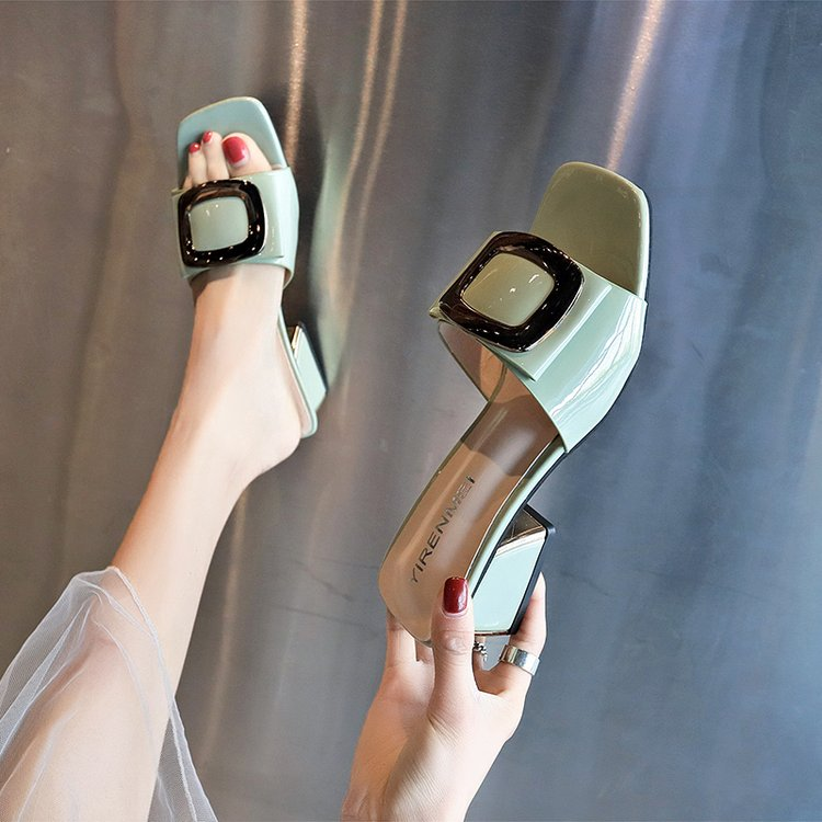 Sandals Fashion Slippers High-Heeled Word Female Korean Summer Metal-Buckle New Wear