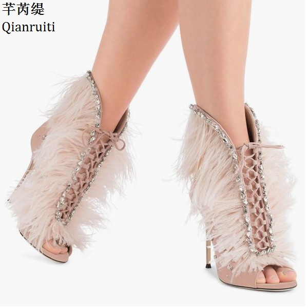 Qianruiti Rome Style Cross-tied Women Ankle Boots Studded Crystal Feather High Heels Shoes Peep Toe Stiletto Heels Women Pumps qianruiti royal blue stiletto heels women pumps sexy pointed toe women shoes studded crystal high heels bridal wedding shoes