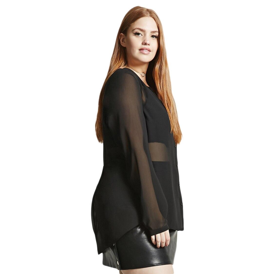 ec06c497b2520 Kissmilk Plus Size Semi Sheer V Neck Button Down Stretchy Women ...