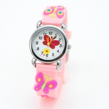 3D Cartoon butterfly Children Watches Fashion sport Boys Rubber Silicon Casual Kids Clock High Quatily watch Relojes Relog