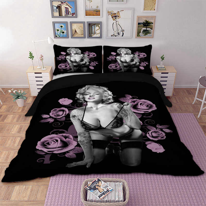 Marilyn Monroe Duvet Cover Pillow Cases Twin Full Queen King Super King Size Sex Goddess Bedclothes Bed Lines 3D Bedding Set