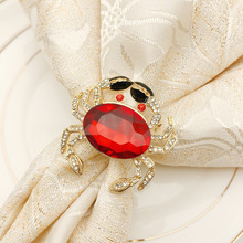 6PCS metal alloy crystal crab napkin ring buckle cloth