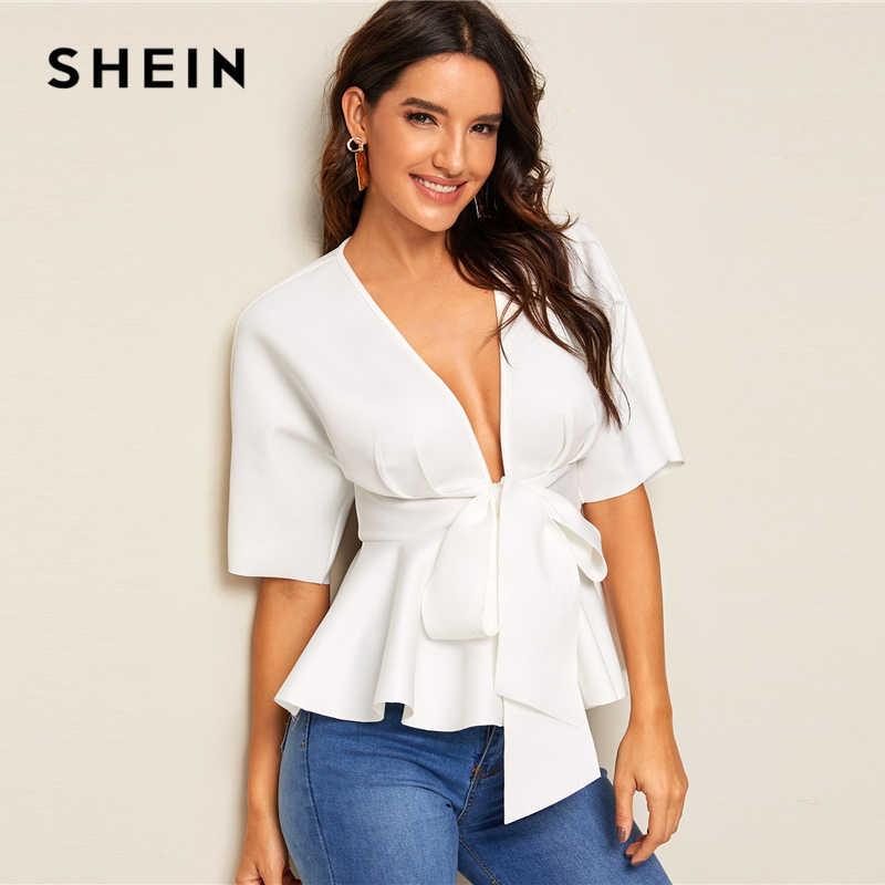 SHEIN топ с глубоким вырезом и баской на талии, белый однотонный облегающий женский топ и блузки, сексуальный глубокий v-образный вырез, летняя блузка с коротким рукавом