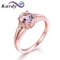 Fine Jewelry 14Kt Rose Gold Genuine Natural Morganite Gemstone Diamond Engagement Wedding Ring Sets for Women