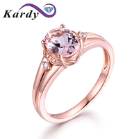 Fine Jewelry 14Kt Rose Gold Genuine Natural Morganite Gemstone Diamond Engagement Wedding Ring Sets for Women