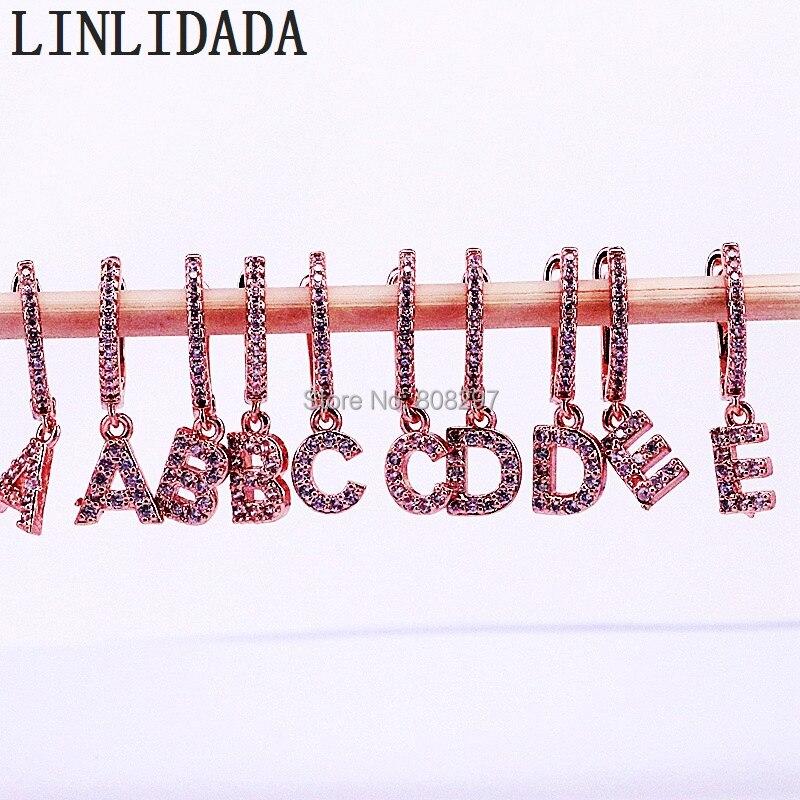 10 Paar Trendy Alphabet 26 Brief Ohrringe Für Frauen Rose Gold Farbe Micro Gepflasterte Cz Zirkon Baumeln Ohrringe Geschenk Für Frauen Schmuck