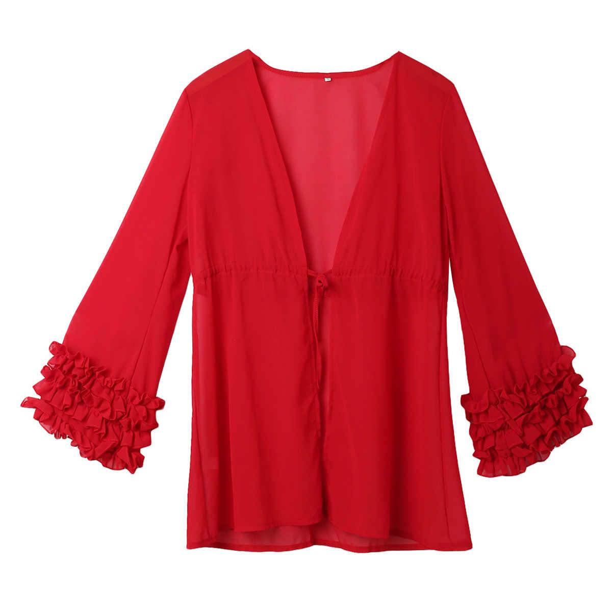 נשים קיץ מכירה לוהטת הכי חדש סגנון ארוך שרוול בגדי ים חוף אופנה שמלת 5 צבעים מוצק גודל S-XL