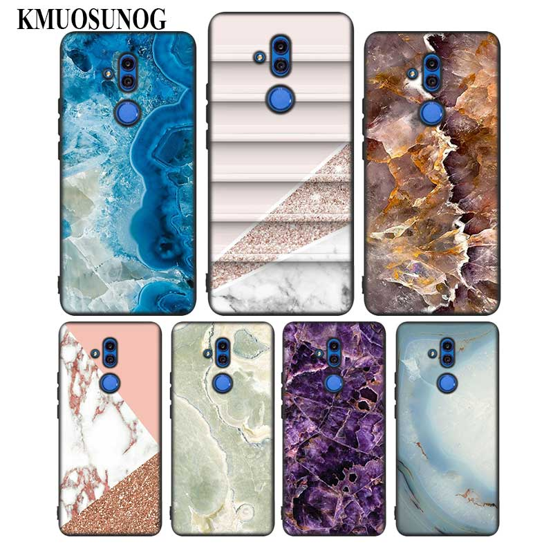 Black Soft Silicone Phone Cases Marble Image Painted for Huawei Honor Mate 7C 7A 8 8X 9 9N 10 20 Nova 3 3i Lite Pro