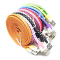 1M/2M/3M Good Colours Flat Braided Fabic Woven Micro USB Phone Data Sync Charger Cables Cord Wire for iPhone 5 5s 6 6Plus xedain