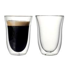 Набор из 2 кофейных чашек объемом 270 мл с двойными стенками для кофе, сока, напитков, латте, эспрессо, высококачественные кофейные чашки из боросиликатного дерева
