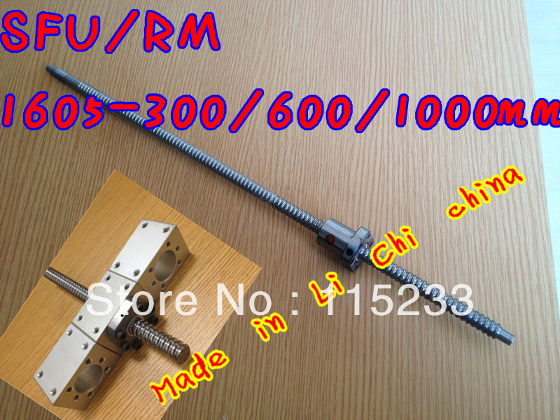 Free shipping RM1605 Ballscrew -L300 / 600 / 1000mm-C7 Anti Backlash Rolled Ballscrew +3pcs SFU1605 ballnut for linear CNC X Y Z