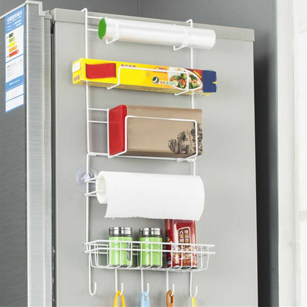 Multi-layer Refrigerator Side Holder Kitchen Organizer Shelf Holder Multifunctional Hanging Shelf with Suction Cup Drop Shipping