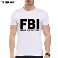 2016 New Summer Female Body Inspector T Shirt Men Short Sleeve Round Neck Personality Print FBI