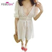 Elegant Hollow Out Lace Dress Women Half Sleeve Summer Style Midi White Dress 2018 Spring Short Casual Dress Vestidos