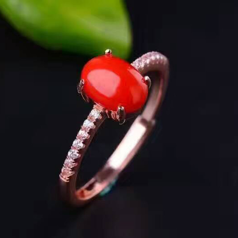 Simple design Aqua coral ring 0.7ct natural red precious coral silver ring solid 925 sterling silver gemstone <font