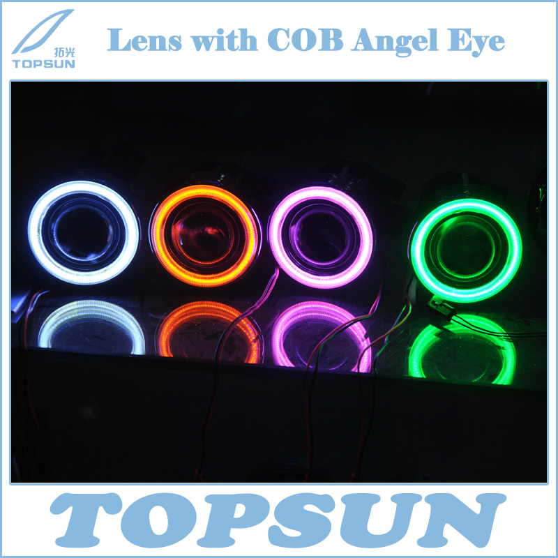 HID Xenon Fog Lamp Kit Projector Lens with COB Angel Eye White Red Blue Yellow Purple Green double light lens angel eye projector h4 h7 two ray lens blue green [qp378 bg]