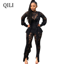 QILI Black Lace See Through Jumpsuits Women Sexy Romper Ruffles Long Sleeve Overalls Nightclub Club New 2019