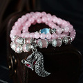 Natural Crystal Beads With Fox Bracelet Women Fashion Pink Crystal Bracelet High-end Jewelry Bracelet Free Shipping